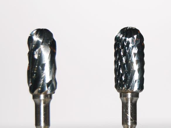 two carbide burs, close-up